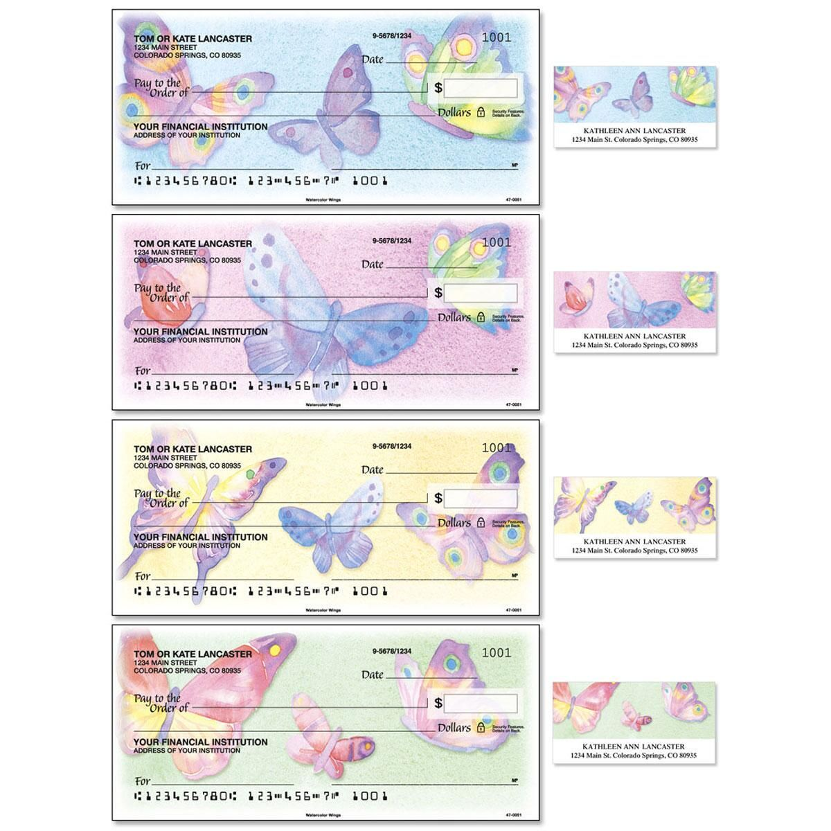Watercolor Wings Single Checks With Matching Address Labels