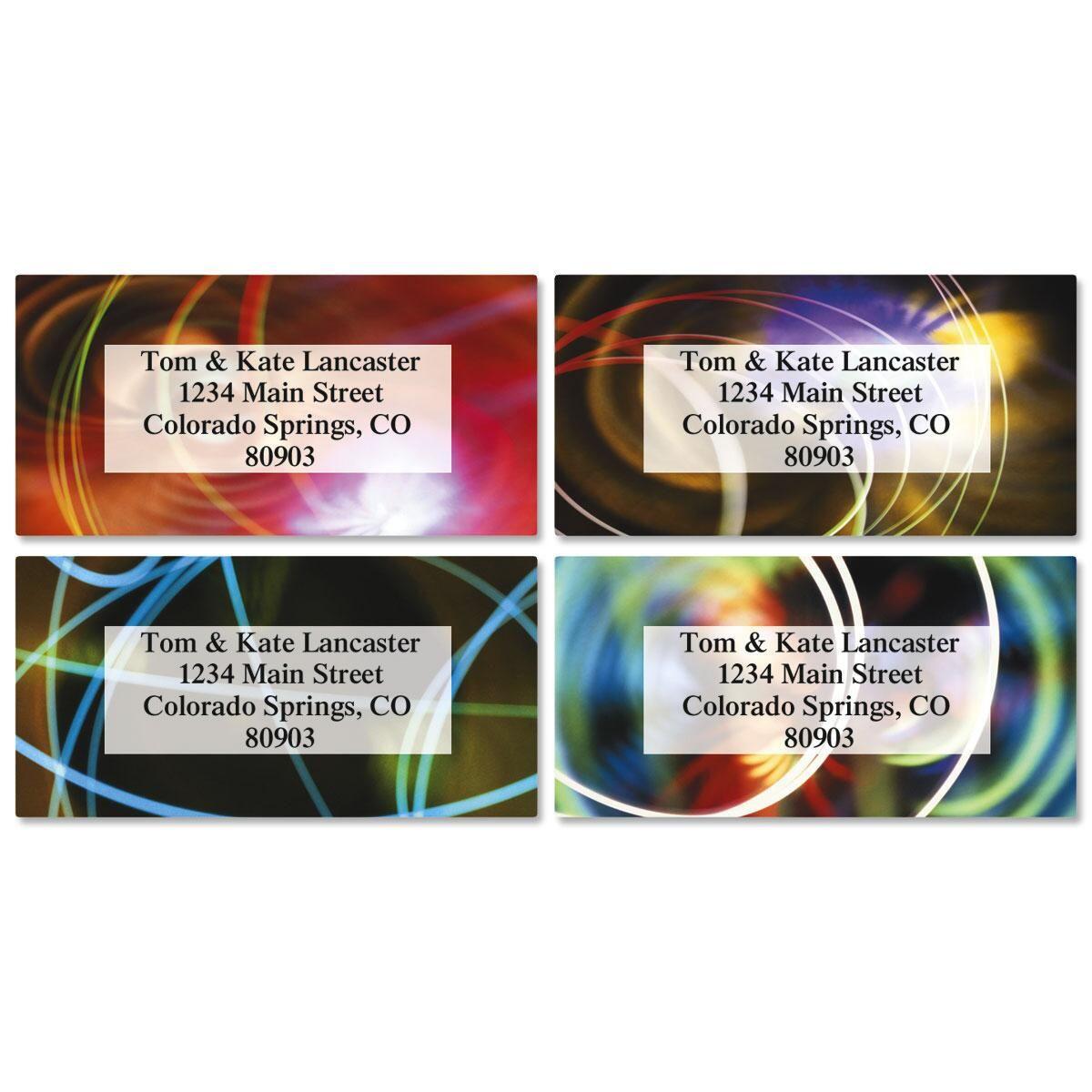 Wow and Flutter Border Return Address Labels  (4 Designs)