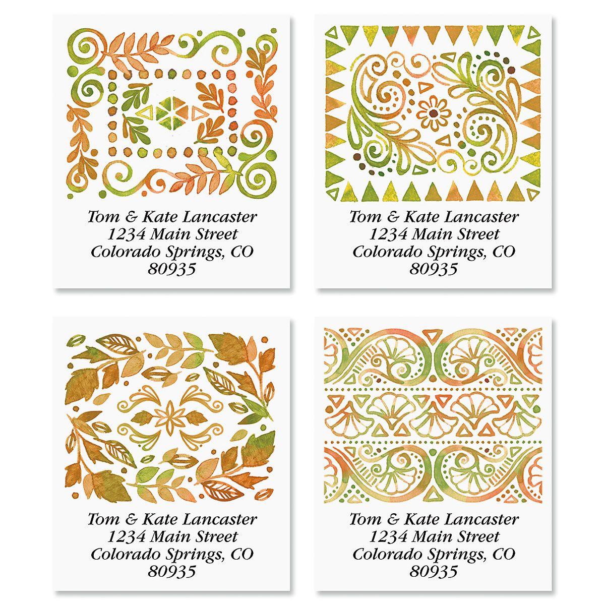 Crazy Quilt Select Return Address Labels (4 Designs)