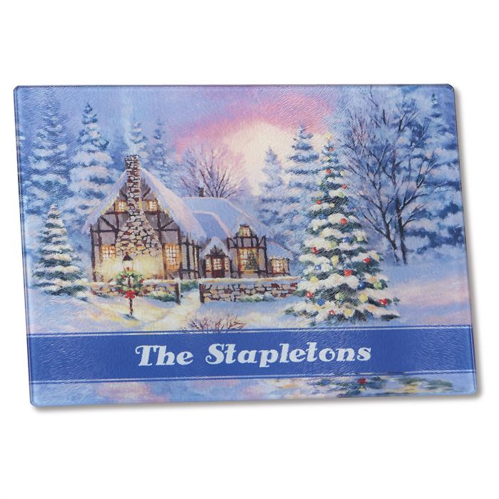 Winter Cottage Glass Cutting Board