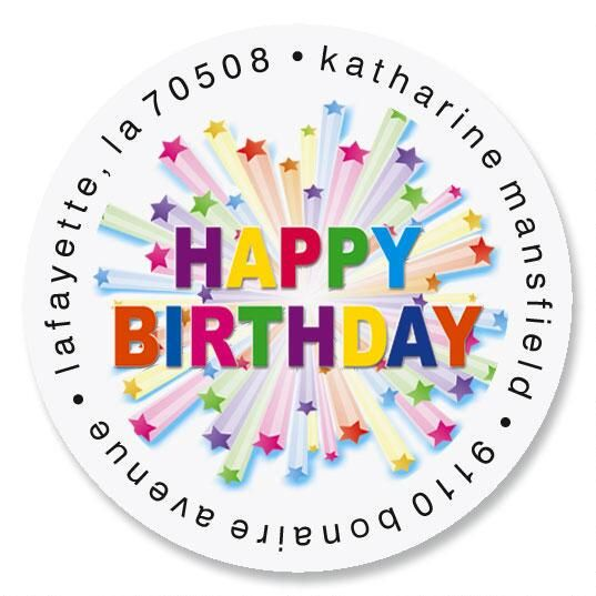 Birthday Star Round Return Address Labels