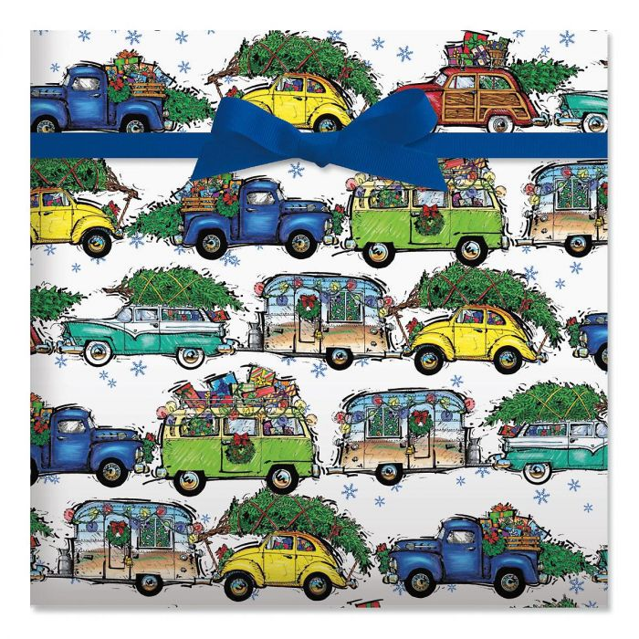 Christmas Vacation on White Holiday Jumbo Rolled Gift Wrap