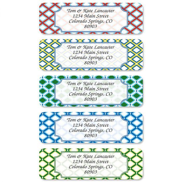Classy Prep Rolled Return Address Labels  (5 Designs)