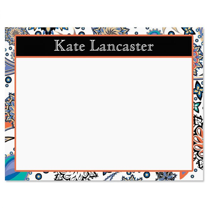 Color Paisley Personalized Correspondence Cards