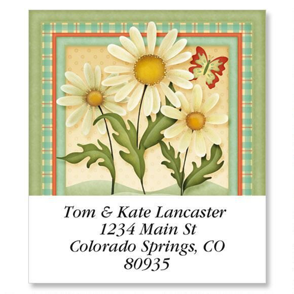 Dusty Blue & Daisies Select Return Address Labels
