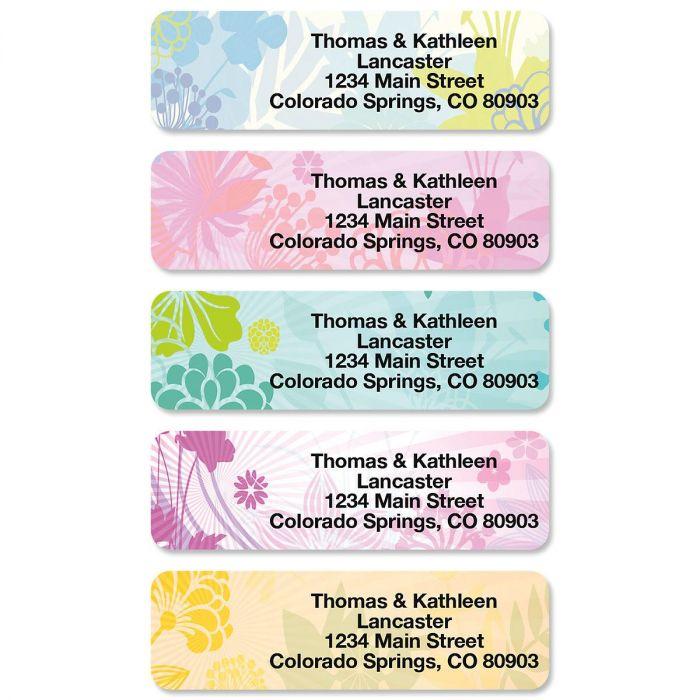 Floret Rolled Return Address Labels  (5 Designs)