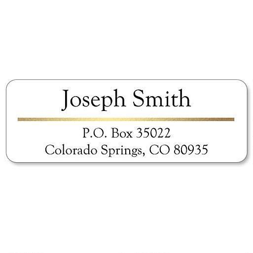 Address Label with Gold Foil Accent Line-White-C119