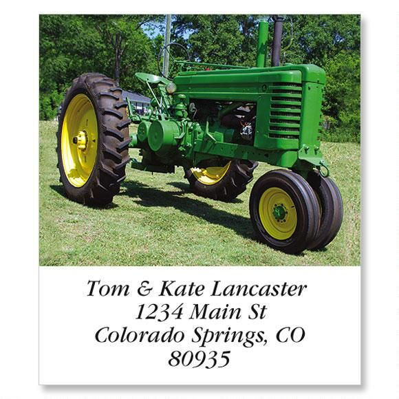 Green Farm Tractor Select Return Address Labels