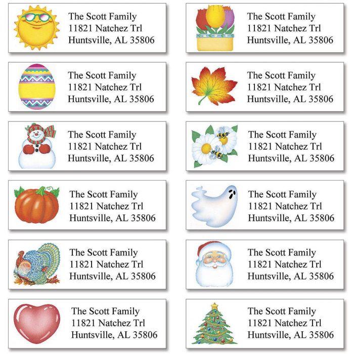 Holidays  Year-Round Classic Return Address Labels (12 Designs)