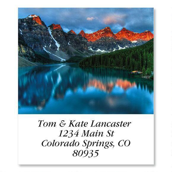 Mountain Lake Sunrise Select Return Address Labels