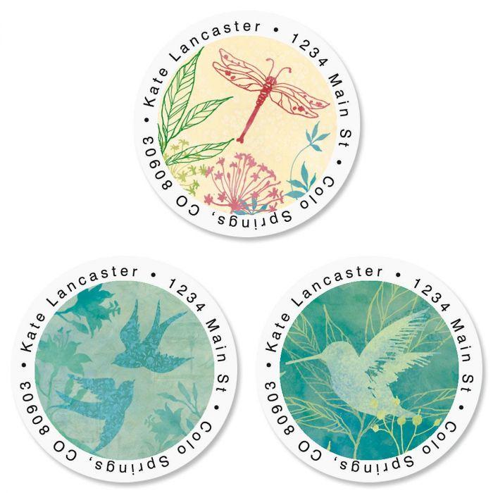 Nature Song Round Return Address Labels  (3 Designs)