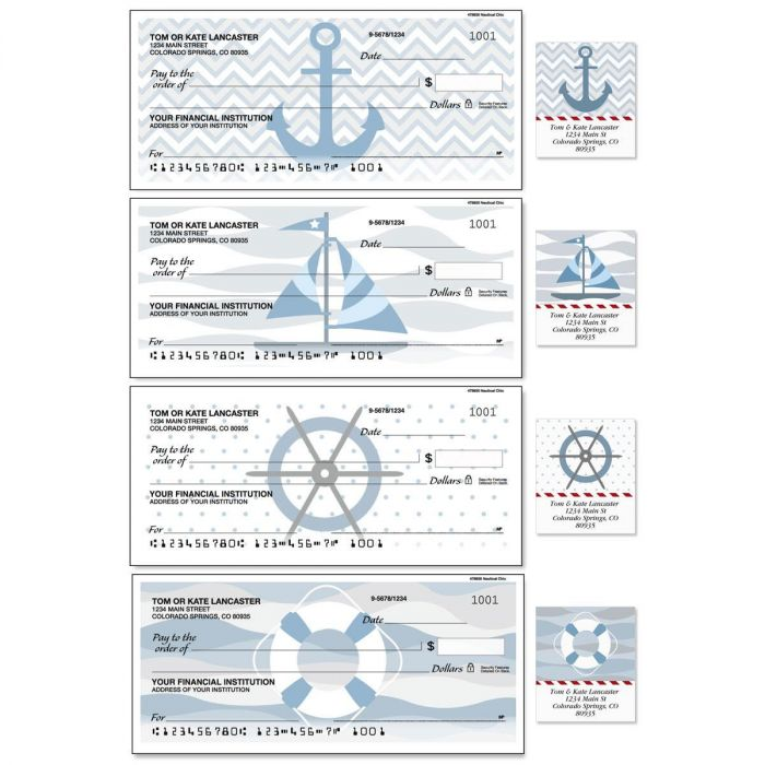 Nautical Chic Duplicate Checks with Matching Address Labels