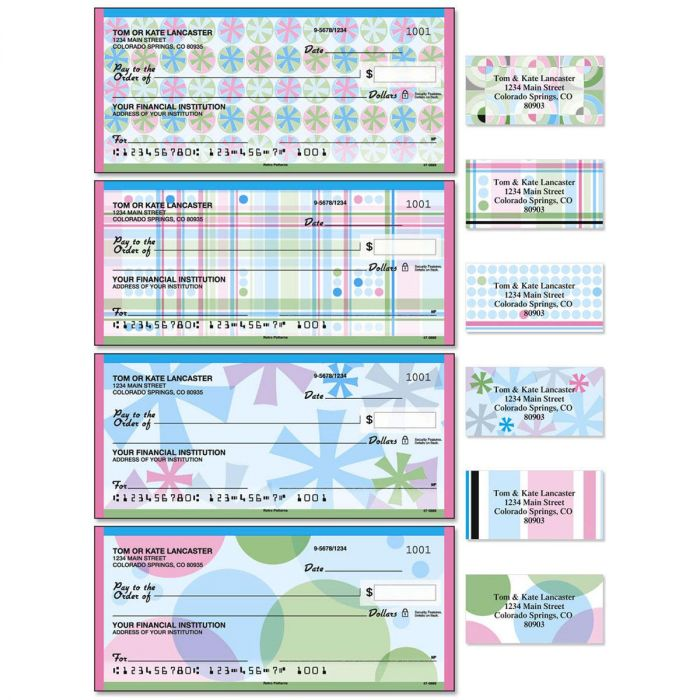 Retro Patterns Single Checks With Matching Address Labels