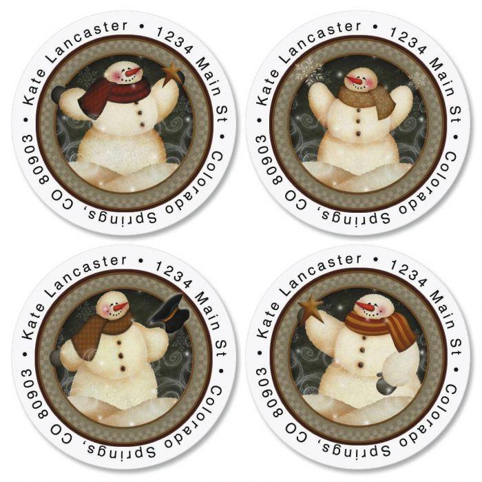 Snowmen Round Return Address Labels  (4 Designs)