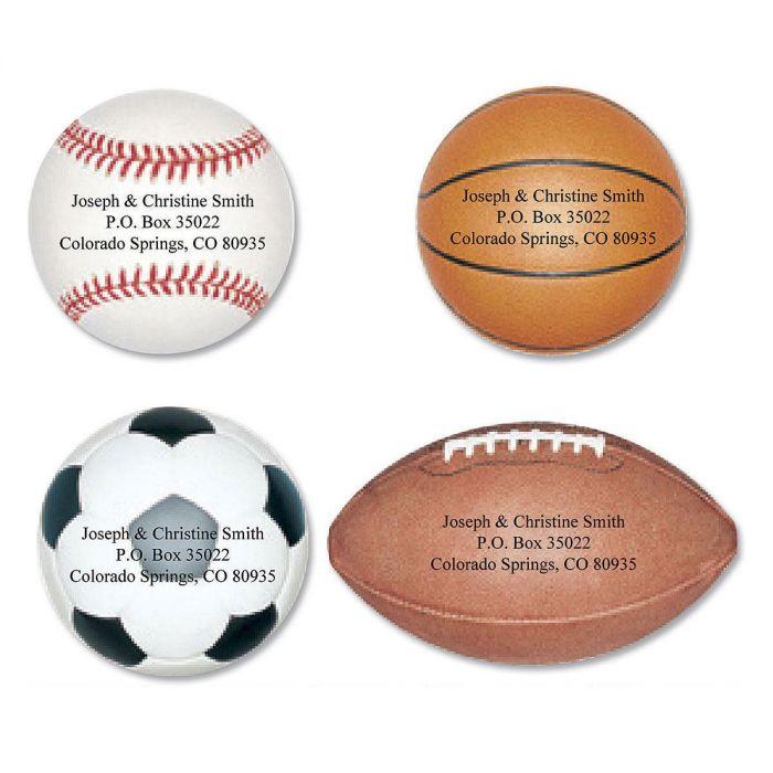 Sports Fan Diecut Return Address Labels  (4 Designs)