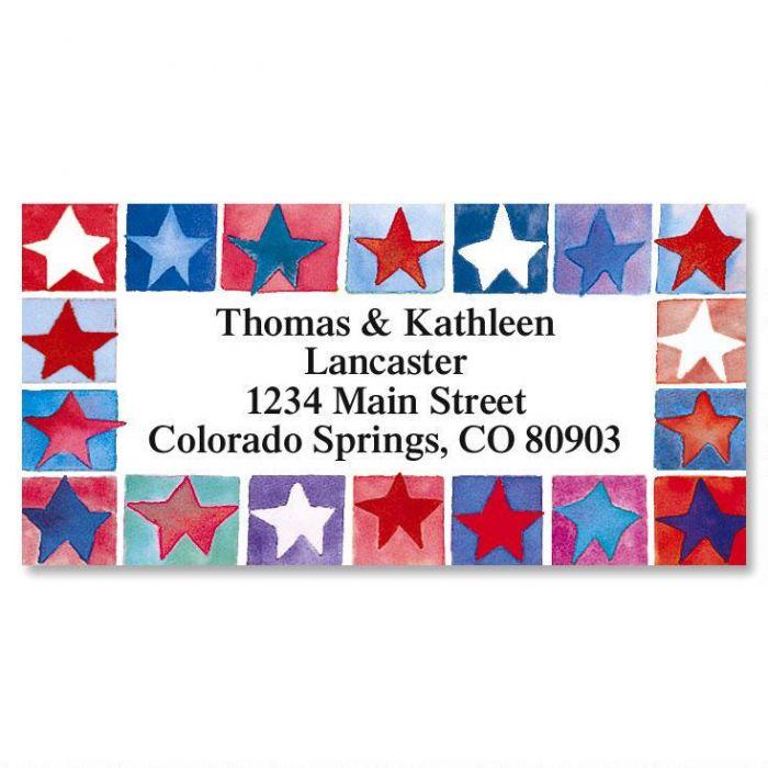 Star-Spangled  Border Return Address Labels
