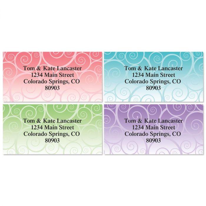 Swirly Girly Border Return Address Labels  (4 Designs)