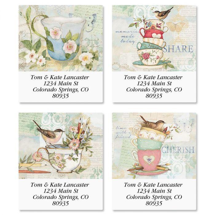 Teacups Select Return Address Labels  (4 Designs)