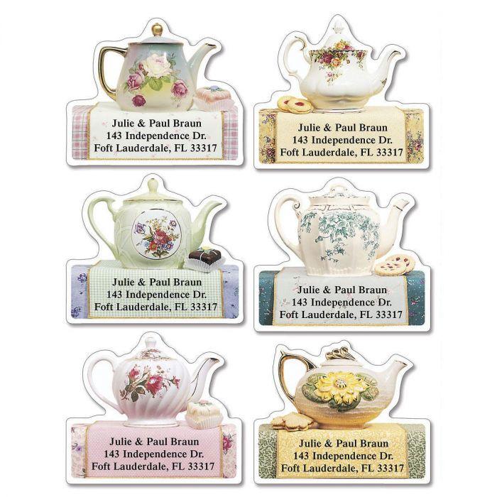 Teapots Diecut Return Address Labels   (6 Designs)