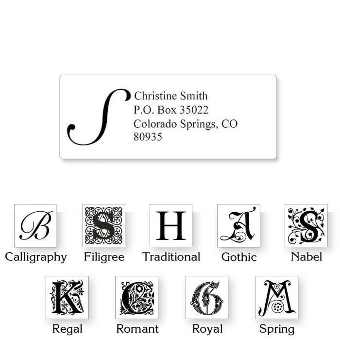 White Initial  Classic Return Address Labels