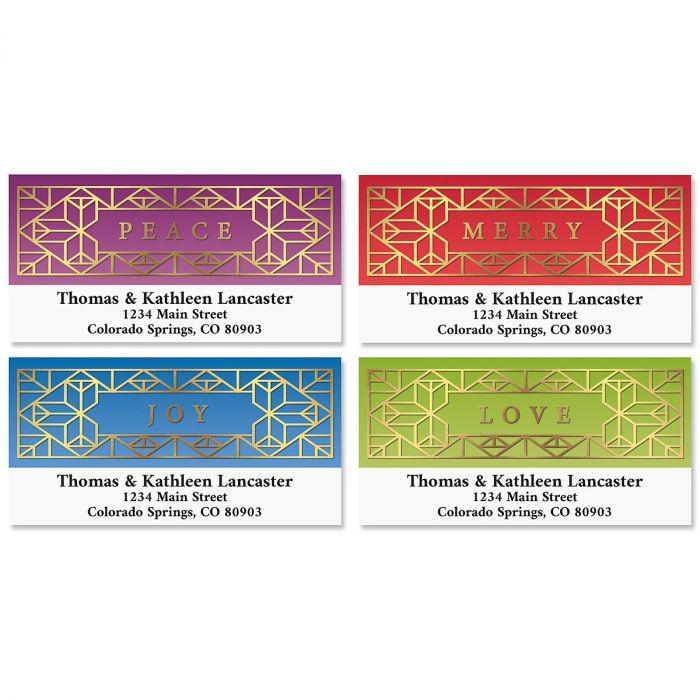 Holiday Glamour Foil Deluxe Return Address Labels (4 Designs)