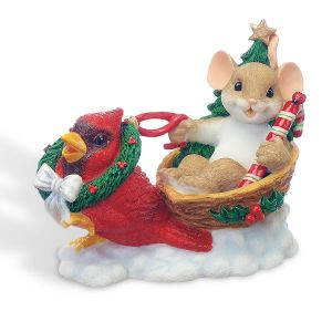 Mouse in Sleigh with Cardinal by Charming Tails®