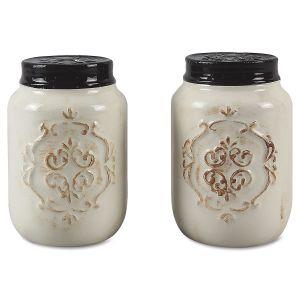 Ceramic Mini Mason Jar Salt & Pepper Set