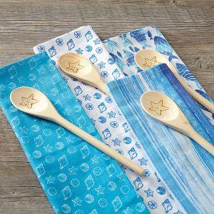 Coastal Dish Towel and Wooden Spoon