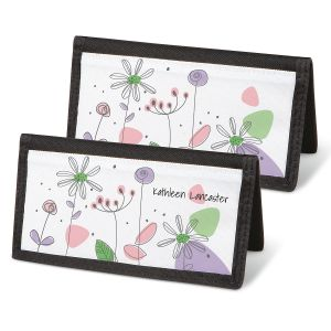Sketched Flowers Personal Checkbook Covers