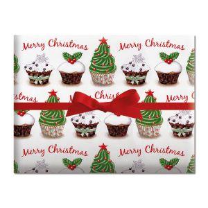 Cupcake Holiday Jumbo Rolled Gift Wrap