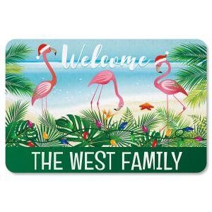 Holiday Flamingo Personalized Christmas Doormat