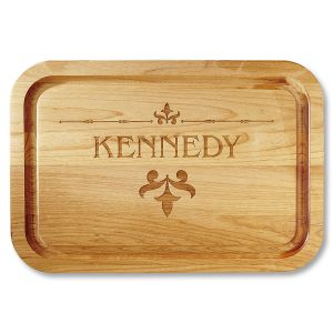 Fleur de lis Red Alder Custom Wood Cutting Board
