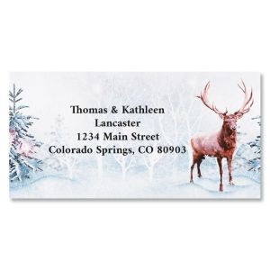 Frosted Forest Holiday Border Return Address Labels