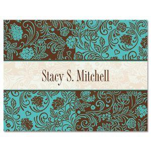Aqua & Chocolate Personalized Note Cards