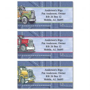 Big Rigs Border Address Labels  (3 Designs)