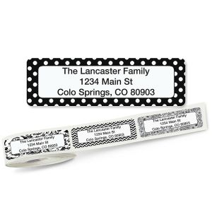 Black and White Rolled Return Address Labels  (5 Designs)