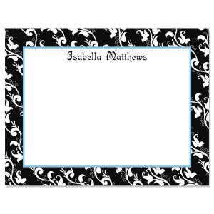 Black Elegance Personalized Correspondence Cards