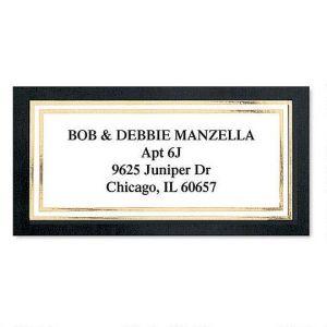 Black & Gold Foil Border Return Address Labels