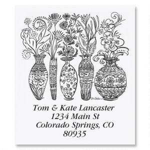 Black & White Decorative Vases Select Address Labels