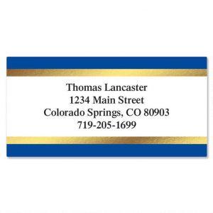 Blue and Gold Foil Border Address Labels