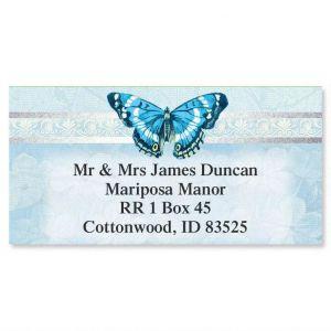 Blue Beauty Foil Border Address Labels