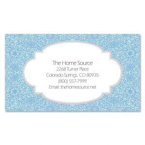 Blue Floral Standard Business Cards