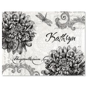 Botanical Black & White Personalized Note Cards