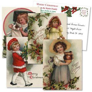 Christmas Victorian Holiday Vintage Postcards  (4 Designs)