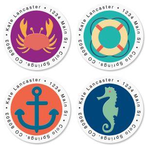 Coastal Round Address Labels  (4 Designs)