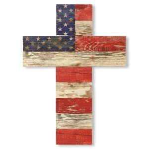 Wooden American Flag Cross