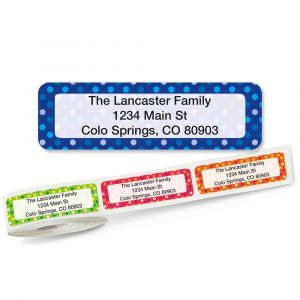 Dot Pattern Rolled Return Address Labels  (5 Designs)