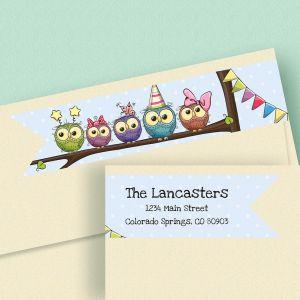 Festive Owls Connect Wrap Diecut Address Labels