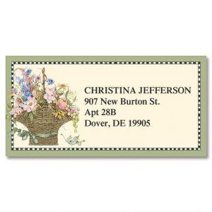 Floral Basket Border Address Labels