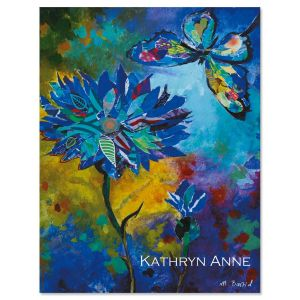 Floral & Butterfly in Blue Personalized Note Cards